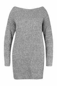 Womens Plus Marl Slash Neck Knitted Jumper Dress - grey - 22, Grey
