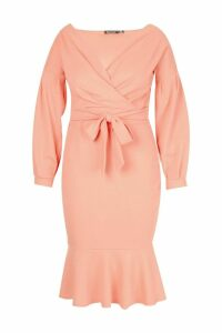 Womens Plus Off The Shoulder Frill Hem Midi Dress - orange - 20, Orange