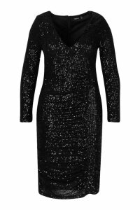 Womens Plus All Over Sequin Ruched Midi Dress - black - 20, Black