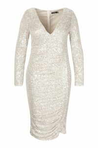 Womens Plus All Over Sequin Ruched Midi Dress - grey - 20, Grey
