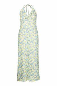 Womens Plus Lemon Plunge Halter Maxi Dress - blue - 22, Blue