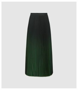 Reiss Marlie - Ombre Pleated Midi Skirt in Green, Womens, Size 14
