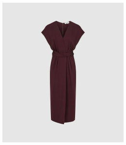 Reiss Maxime - Wrap Front Slim Fit Dress in Burgundy, Womens, Size 16
