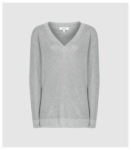 Reiss Effie - Metallic V-neck Jumper in Silver, Womens, Size XXL