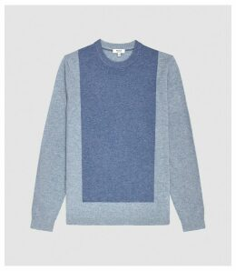 Reiss Cassidy - Wool Cashmere Blend Jumper in Airforce Blue, Mens, Size XXL