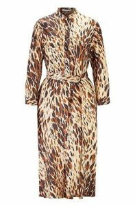 Animal-print shirt dress with D-ring belt
