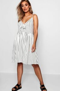 Womens Plus Tie Front Stripe Split Midi Dress - white - 20, White