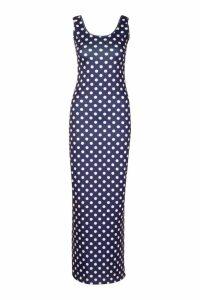 Womens Polka Dot Maxi Dress - navy - 12, Navy