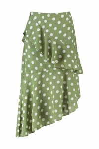 Womens Polka Dot Check Asymmetric Frill Midi Skirt - green - 16, Green