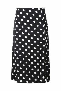 Womens Satin Polka Dot Split Midi Skirt - black - 12, Black