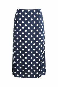 Womens Satin Polka Dot Split Midi Skirt - navy - 12, Navy
