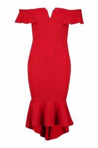 Womens Off The Shoulder V Bar Ruffle Hem Midi Dress - red - 14, Red