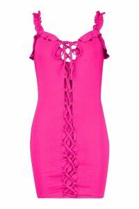 Womens Ruffle Lace Up Bodycon Mini Dress - Pink - 14, Pink