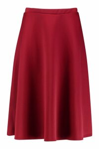 Womens Plus Basic Plain Full Circle Midi Skater Skirt - red - 24, Red