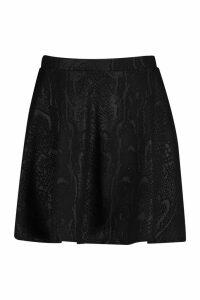 Womens Plus Croc Pu Coated Skater Skirt - black - 20, Black