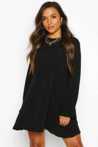 Womens Petite Soft Rib Swing Dress - black - 12, Black