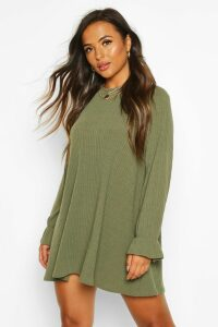 Womens Petite Soft Rib Swing Dress - green - 10, Green