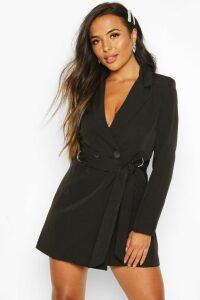 Womens Petite Tailored D-Ring Belted Blazer Dress - black - 8, Black