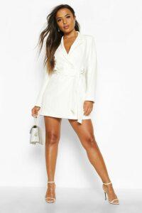 Womens Petite Tailored D-Ring Belted Blazer Dress - white - 14, White