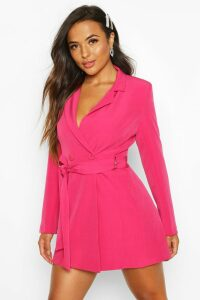 Womens Petite Tailored D-Ring Belted Blazer Dress - Pink - 6, Pink
