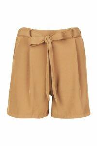 Womens Petite Woven Drape Tailored Shorts - beige - 14, Beige