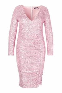 Womens Plus All Over Sequin Ruched Midi Dress - pink - 20, Pink