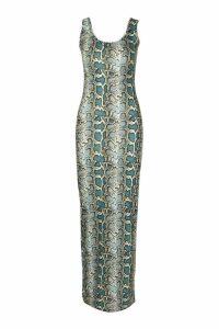 Womens Blue Snake Print Maxi Dress - 16, Blue