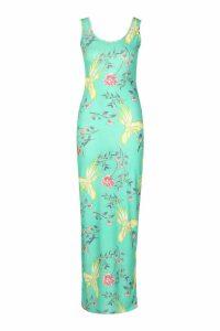 Womens Green Floral Maxi Dress - 14, Green