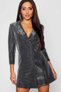 Womens Metallic Blazer Dress - grey - 14, Grey