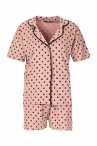 Womens Jersey Polka Dot Button Through PJ Short Set - pink - 12, Pink