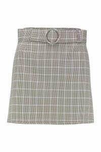 Womens Petite Check Self Fabric Belt Mini Skirt - beige - 8, Beige