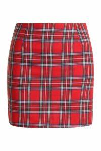 Womens Petite Tartan Check Mini Skirt - red - 14, Red