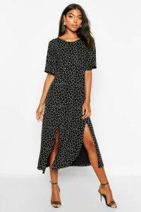 Womens Tall Angel Sleeve Polka Dot Midi Dress - black - 16, Black