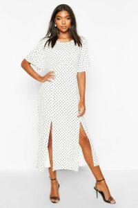 Womens Tall Angel Sleeve Polka Dot Midi Dress - white - 16, White