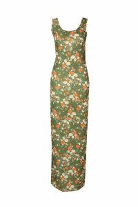 Womens Khaki Floral Maxi Dress - green - 14, Green