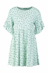 Womens Ditsy Floral Smock Dress - green - 16, Green