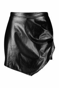 Womens Plus Leather Look Snakeskin Skort - black - 18, Black