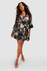 Womens Plus Floral Satin Ruffle Wrap Dress - black - 18, Black