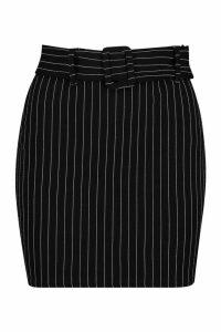 Womens Petite Pinstripe Self Fabric Belt Skirt - black - 14, Black