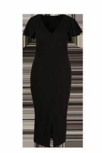 Womens Plus Plunge Ruffle Split Front Midi Dress - black - 24, Black