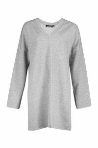 Womens Tall Raw Edge Sweat Dress - grey - 16, Grey