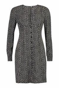 Womens Tall Polka Dot Button Through Mini Dress - black - 16, Black