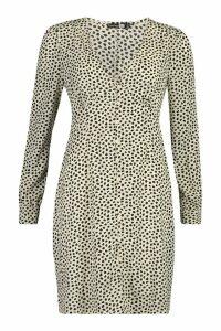 Womens Tall Polka Dot Button Through Mini Dress - white - 12, White