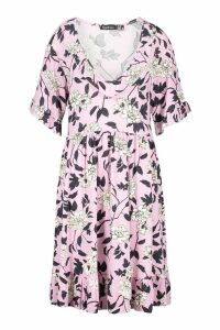 Womens Tall Plunge Ruffle Floral Smock Dress - purple - 16, Purple