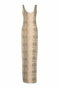 Womens Natural Snake Print Maxi Dress - beige - 12, Beige