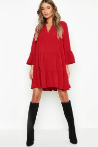 Womens Woven Tiered Smock Dress - 16, Red