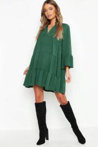 Womens Woven Tiered Smock Dress - green - 16, Green