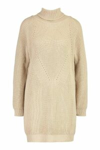 Womens Roll Neck Cable Detail Dress - beige - M/L, Beige