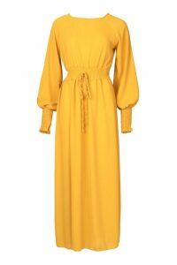 Womens Woven Shirred Waist Maxi Dress - yellow - 8, Yellow