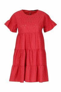 Womens Broderie Anglaise Smock Dress - red - 14, Red